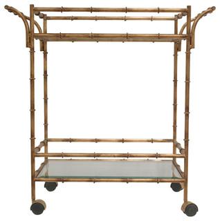 Axel Antique Gold Bamboo Effect Tea Cart