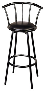 Coaster Buckner 29 quot Casual Metal Bar Stool With Faux Leather Swivel Seat Black