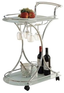 Bowery Hill Serving Cart With 2 Frosted Glass Shelves Light Chrome