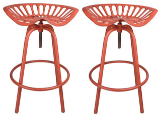 NACH Rustic Tractor Seat Stool Set of 2 Red