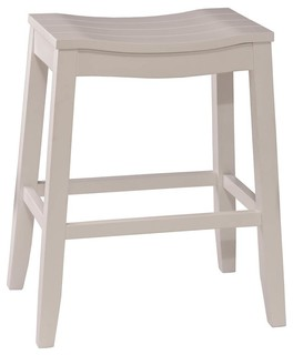 Backless Non Swivel Counter Stool White