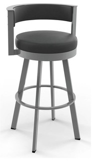 Browser Swivel Counter Stool in Glossy Gray Metal Finish