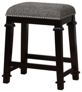 Kyley Tweed Backless Stool Black White Counter Height