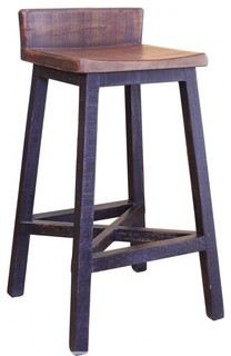 Granville Stationary Bar Stool Rustic Brown Black 30 quot Seat Height