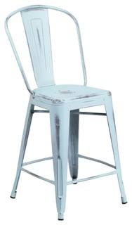 Indoor Counter Stool With Back Distressed Dream Blue Finish