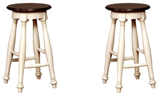 Country Style Counter Height Wooden Stools Set of 2 Cherry White