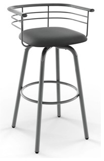 Turbo Swivel Counter Stool in Glossy Gray Metal Finish