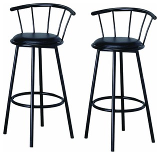 29 Black Finish Swivel Dining Bar Stool Chairs Set of 2
