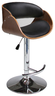 Pastel Kaffina Hydraulic Lift Barstool Chrome Walnut Veneer Wood PU Black