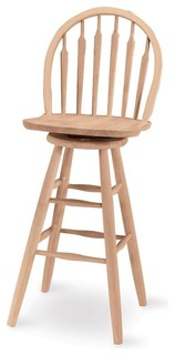 Windsor Unfinished Arrowback Swivel Bar Stool