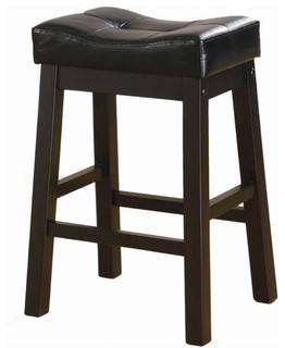 Bowery Hill 29 quot Upholstered Seat Bar Stool in Black