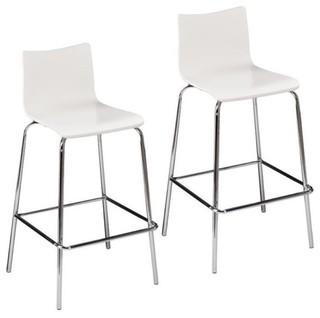 Bowery Hill Bar Stools White Set of 2