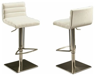 Pastel Dubai Hydraulic Barstool Stainless Steel with White Back PU Ivory