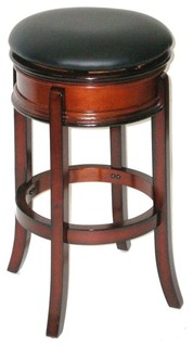 Hardwood Backless Swivel Bar Stool with Padded Seat and Footring