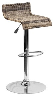 Contemporary Wicker Adjustable Height Counter Stool