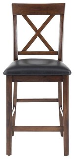X Back Stools With Faux Leather Seat Set of 2