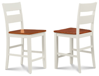Counter Height Bar Stool Dining Chair White and Cherry Set of 4