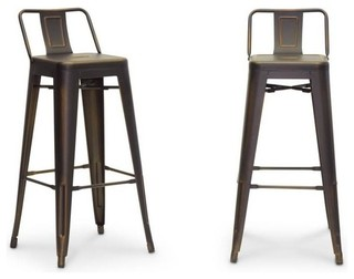 French Industrial Modern Bar Stools Set of 2