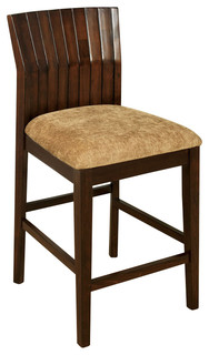Trendy Durable Soft Microfiber Seat Wood Back Counter Height Chairs Set of 2
