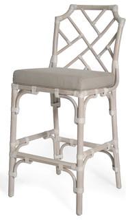 Palm Beach Chippendale Bar Chair Linen