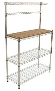 Metal Bakers Rack With Hanging Bar Bamboo Cutting Board