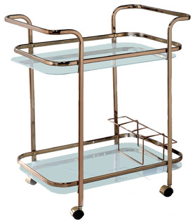Caden Contemporary Serving Cart Champagne