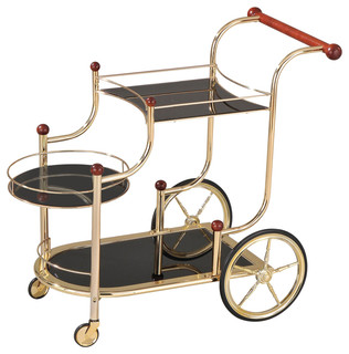 Acme Lacy Serving Cart Golden Plated and Black Glass