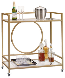 International Lux Glass Bar Cart Satin Gold