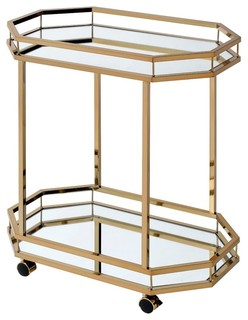 Acme Lacole Serving Cart Mirror and Champagne