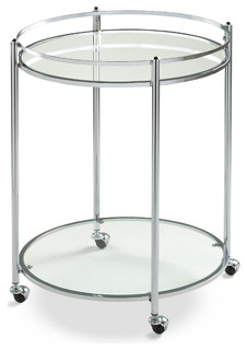 Veranda Bar Round Cart Chrome Clear Glass
