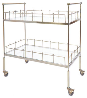 Fitz 2 Tier Rectangular Serving Cart Antique Gold