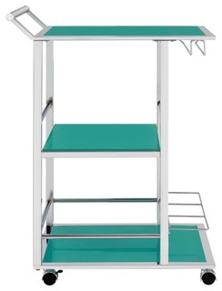Metal and Glass Serving Cart with Wine Storage By Coaster Turquoise