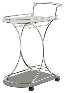 Coaster Serving Cart With 2 Black Glass Shelves 910001