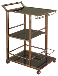 Metal and Glass Serving Cart With Wine Storage Black