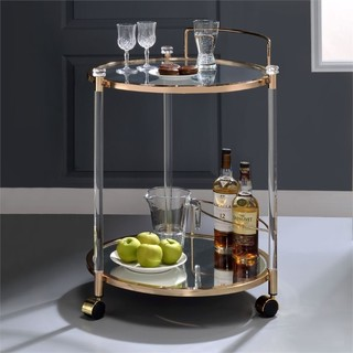 ACME Todd Serving Cart Clear Glass and Gold