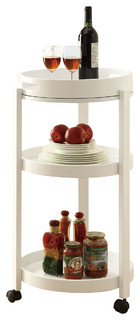 Monarch Specialties 3345 Round Bar Cart with Serving Tray on Castors in White