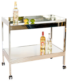 Bar Cart With Casters and Plain Mirror Nickel