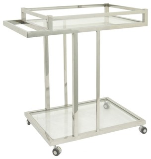 Benzara 40350 Metal Glass Bar Cart Silver
