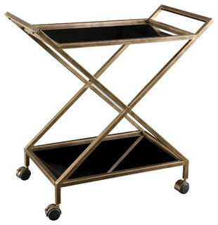 Contemporary Gold Black Serving Cart