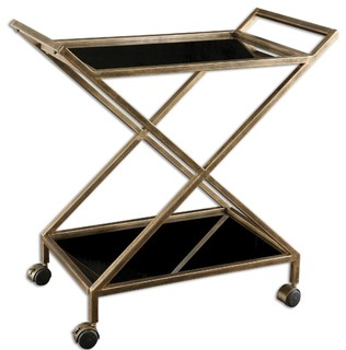 Uttermost 25013 Zafina Gold Bar Cart