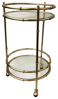 Bamboo Round Bar Cart Gold