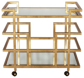 Worlds Away Ireland Bar Cart Gold Leaf