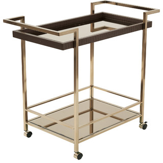 Isabella Wine Cart With Bronze Glass Top and Champagne Metal Frame