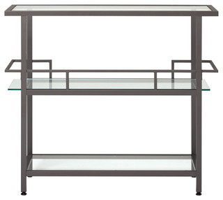Offex Home Office Piloti Bar Pewter Clear Glass