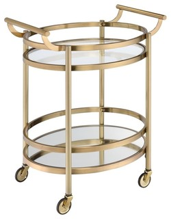 Acme Lakelyn Serving Cart Clear Glass and Gold
