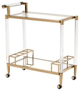 Kautz Gold Acrylic Bar Cart