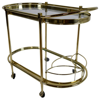 Consigned Vintage Italian Regency Style Oval Tea Cart
