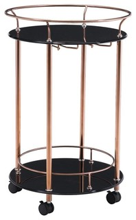 Modern Contemporary Serving Cart Rose Gold Glass