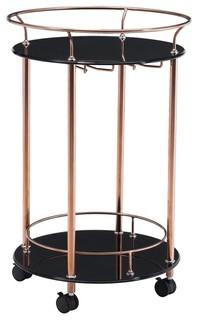 Modern Contemporary Serving Cart Rose Gold Glass