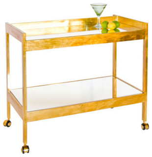 Worlds Away Roland Gold Leafed Bar Cart